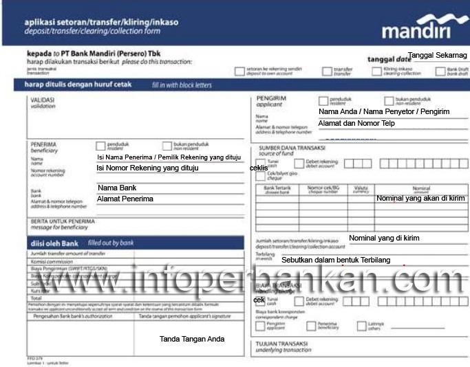 Slip Setoran Transfer Bank Mandiri