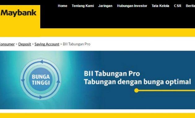 Tabungan Pro Bank BII Maybank