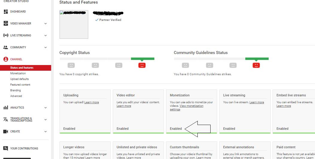 Status Monetize di Youtube