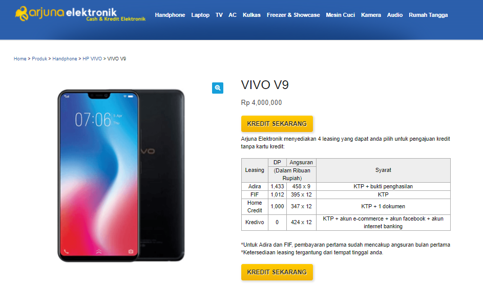 Kredit Hp Vivo V9 di Arjuna Elektronik