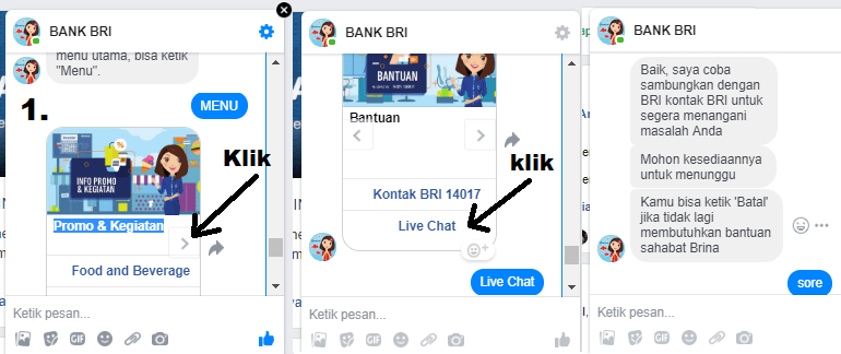 live chat bri lewat facebook
