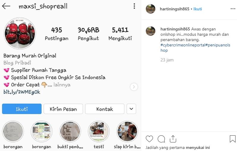 penipuan online di instagram