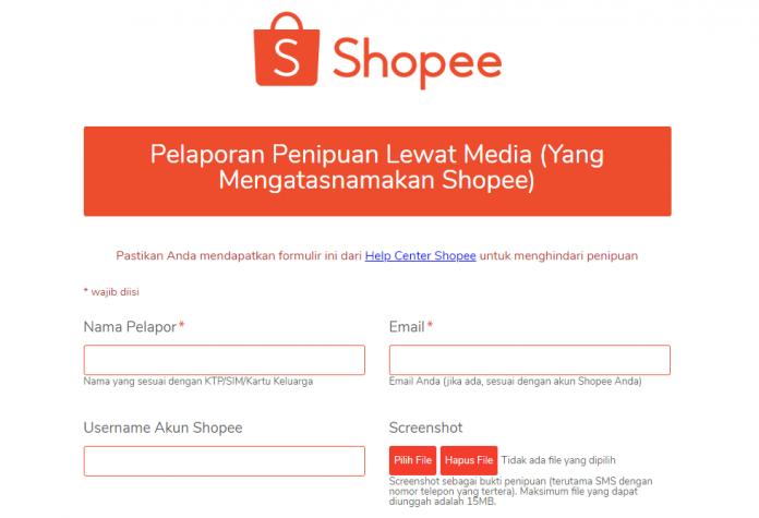 cara melaporkan penipuan shopee