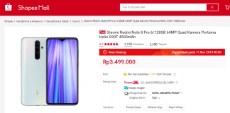 flash sale xiaomi redmi note 8 pro di shopee