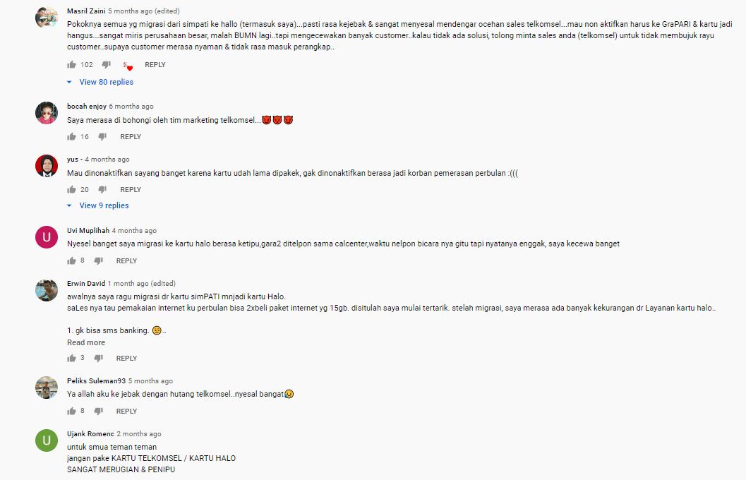 komentar pelanggan di youtube channel