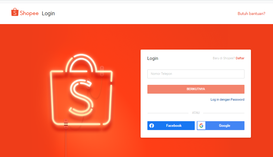 login shopee lewat sms