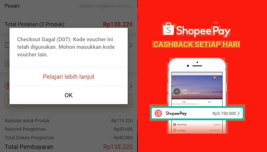 shopee error gagal checkout